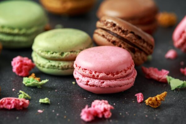 Sweet colorful macarons dessert, almond cake, cookies.